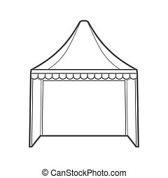 outline folding tent marquee illustration - vector...