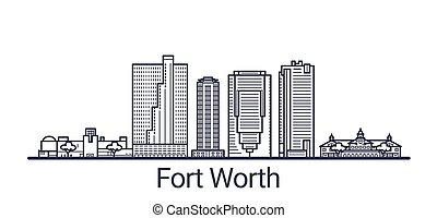 Outline Fort Worth banner - Linear banner of Fort Worth city...