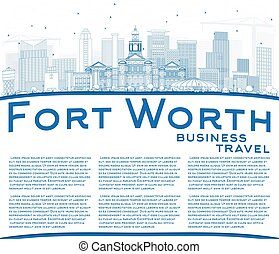 Outline Fort Worth Skyline with Blue Buildings and Copy Space.