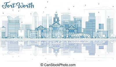 Outline Fort Worth Skyline with Blue Buildings and Reflections.