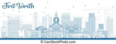 Outline Fort Worth Skyline with Blue Buildings.