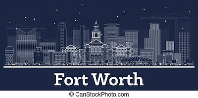 Outline Fort Worth Texas City Skyline with White Buildings.