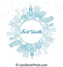 Outline Fort Worth USA Skyline with Blue Buildings and Copy Space.