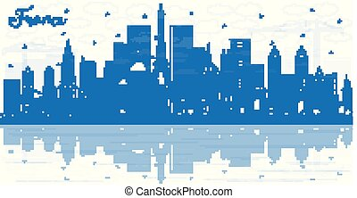 Outline France City Skyline with Blue Buildings and Reflections. Vector Illustration. Tourism Concept with Historic Architecture. France Cityscape with Landmarks. Toulouse. Paris. Lyon. Marseille.