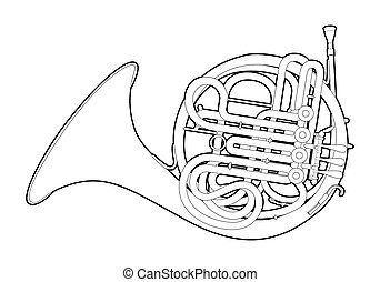 Outline French horn - Vector illustration of French horn on...