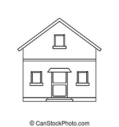 outline front view house home vector illustration eps 10