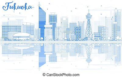 Outline Fukuoka Skyline with Blue Landmarks and Reflections.