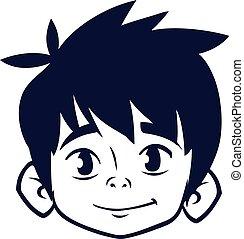 outline., garçon, tête, coloration, illustration, livre, vecteur, dessin animé, heureux