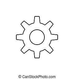 Outline gear icon isolated on white background