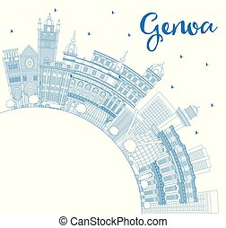 Outline Genoa Italy City Skyline with Blue Buildings and...