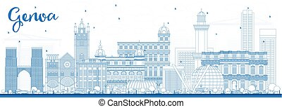 Outline Genoa Italy City Skyline with Blue Buildings. Vector...
