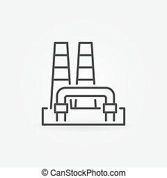 Outline geothermal power plant icon. Vector renewable energy...