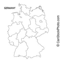 outline germany map all federal states on separate layers