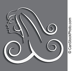 Outline girl curly hair cut out 3d - Outline illustration of...