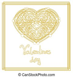 Outline golden heart shape with copy space.