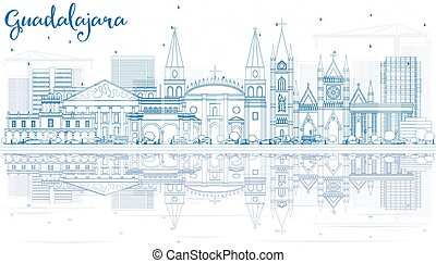 Outline Guadalajara Skyline with Blue Buildings and Reflections. Vector Illustration. Business Travel and Tourism Concept with Historic Architecture. Image for Presentation Banner Placard and Web Site.