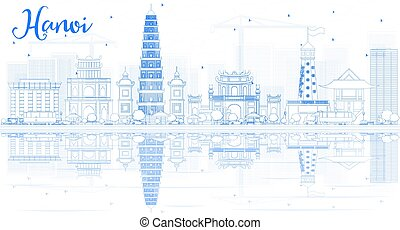 Outline Hanoi skyline with blue Landmarks and reflections.