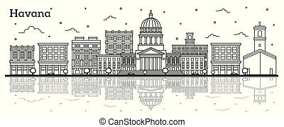 Outline Havana Cuba City Skyline with Historic Buildings and Reflections Isolated on White. Vector Illustration. Havana Cityscape with Landmarks.