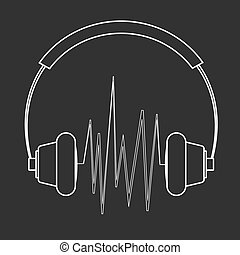 Outline headphones illustration