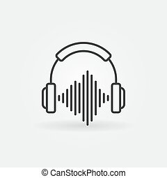 Outline headphones with sound wave icon