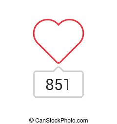 Outline heart counter icon isolated on white background. Line like symbol for website design, mobile application, logo, ui. Vector illustration. EPS10.