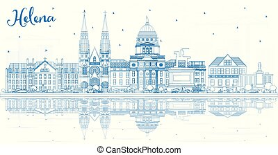 Outline Helena Montana City Skyline with Blue Buildings and Reflections. Vector Illustration. Business Travel and Tourism Concept with Historic Architecture. Helena USA Cityscape with Landmarks.