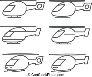 Outline helicopter icons set