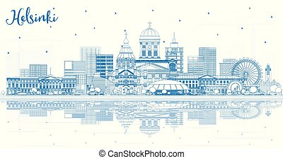 Outline Helsinki Finland City Skyline with Blue Buildings and Reflections. Vector Illustration. Business Travel and Concept with Historic Architecture. Helsinki Cityscape with Landmarks.