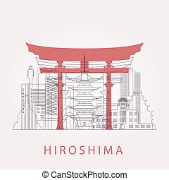 Outline Hiroshima skyline with landmarks. Vector...