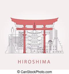 Outline Hiroshima skyline with landmarks. Vector...
