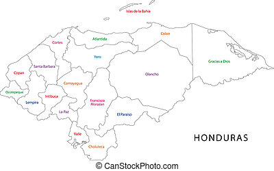 Outline Honduras map - Administrative divisions of Honduras