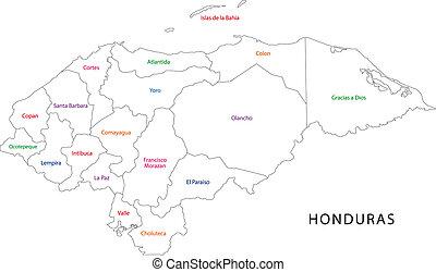 Outline Honduras map - Administrative divisions of Honduras
