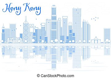 Outline Hong Kong skyline with blue buildings.