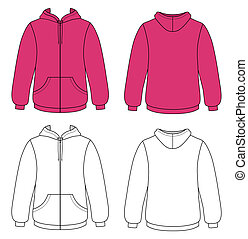 Template vector illustration of a blank hooded sweater. All objects and details are isolated