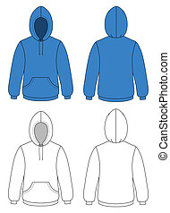 Template vector illustration of a blank hooded sweater. All objects and details are isolated.