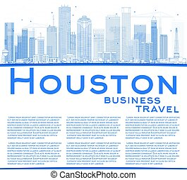 Outline Houston Skyline with Blue Buildings. Vector...