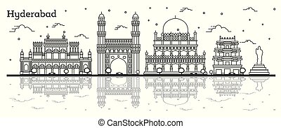 Outline Hyderabad India City Skyline with Historical ...