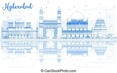 Outline Hyderabad Skyline with Blue Landmarks and Reflections.