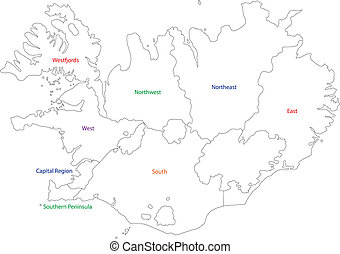Outline Iceland map - Map of administrative divisions of...