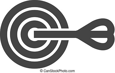 Arrow bulls eye icon in thick outline style. Black and white monochrome vector illustration.