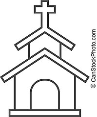Outline icon - Church - Church icon in thin outline style....