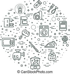 Outline icon collection - household appliances - vector...