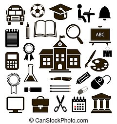 Outline icon collection - School education. Vector illustration
