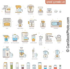 Outline icon collection small kitchen electronics...