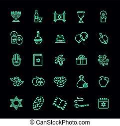 Outline icon collection - Symbols Of Hanukkah - Israel...
