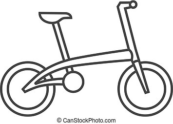 Outline icon - Folding bicycle - Bicycle icon in thin...