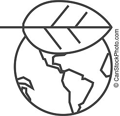Outline icon - Globe leaf