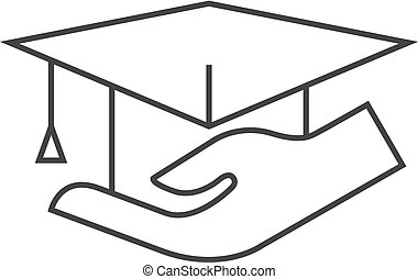 Outline icon - Hand holding diploma - Hand holding diploma...