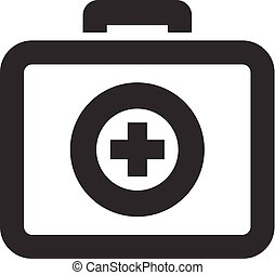 Medical case icon in thick outline style. Black and white monochrome vector illustration.
