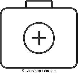 Medical case icon in thin outline style. Health care equipment storage